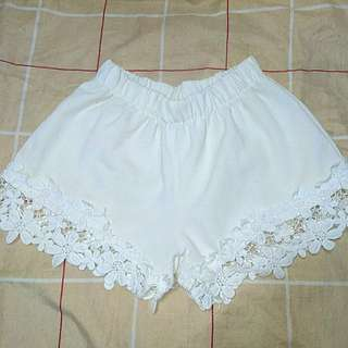 Lace white beach shorts