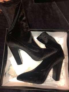 Black velvet billini boots