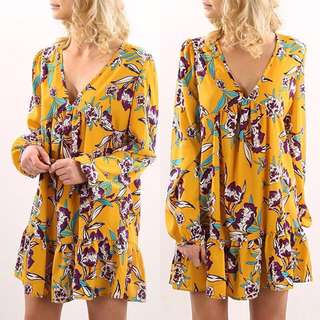 Summer dress vneck loose floral beach dress boho bohemian style
