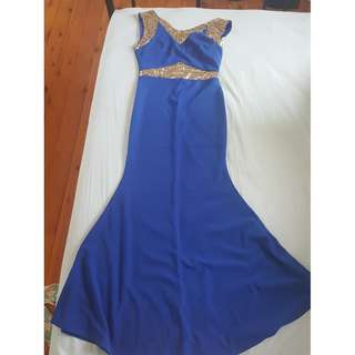 Long Blue Gown (Mermaid Style)