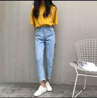 🚚 [全新]韓系牛仔九分褲