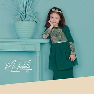 Peonies Kids Emerald Green (S) Minaz *defect*