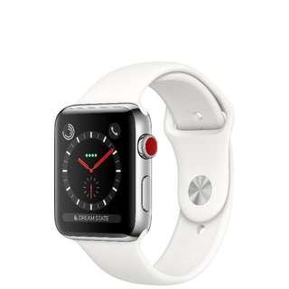 全新未開 Apple Watch Series 3 42mm LTE不鏽鋼 配淺白色運動錶帶