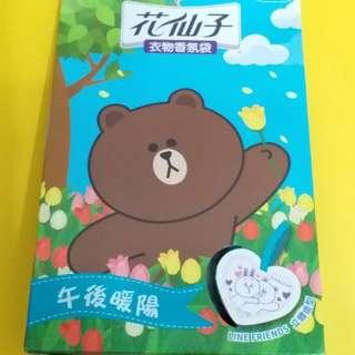 Line Friends Brown 熊大花仙子衣物香氣袋 (一盒三個)