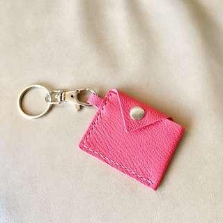 客人訂製 手工皮革 唇膏粉 縮紋羊皮 迷你八達通套 鎖匙扣