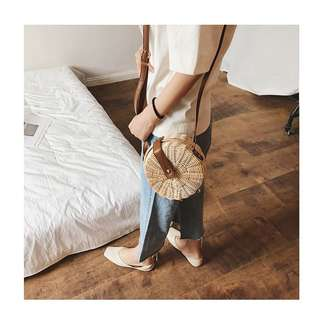 Straw Bag With Leather Strap