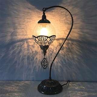 土耳其工藝冰裂紋金屬特色天鵝型復古經典台燈. 呎吋:直徑26CM.高56CM