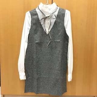 🚚 韓國綁帶雪紡假兩件洋裝