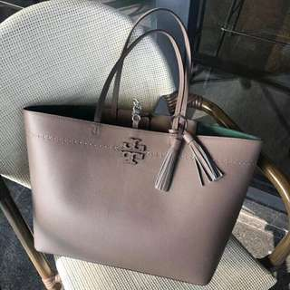 Tory Burch Leather Mcgraw Shopping Tote Grey Colour