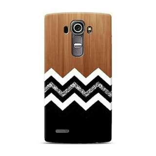 White And Black Chevron With Wood LG G4 Custom Hard Case