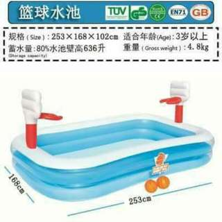 INFLATABLE POOL WITH MINI BASKETBALL COURT