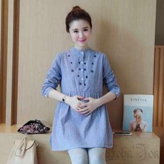 Maternity-Nursing Dress Long Sleeve Blue Stripe