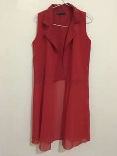 Red Long Cardy