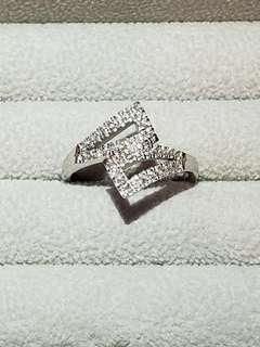 18K白金人造鑽石戒指設計師款式