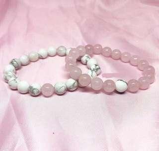 Distance Bracelet (howlite&rose quartz)