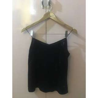 Black Velvet Sleeveless Top