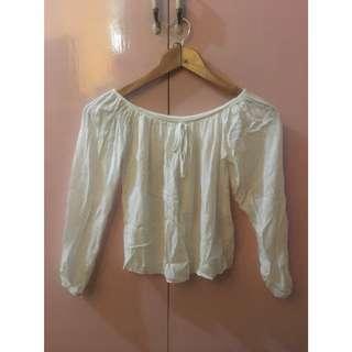 White Cotton Longsleeves Off Shoulder