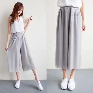 (不透底)灰色雪紡闊腳褲grey wide-leg trousers