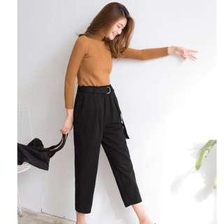 🚚 黑色闊腿褲寬褲(大尺碼)✅