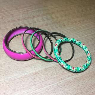 Pink stacked bangles