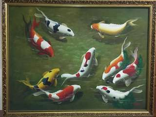 9 Koi Fishes Oil Painting