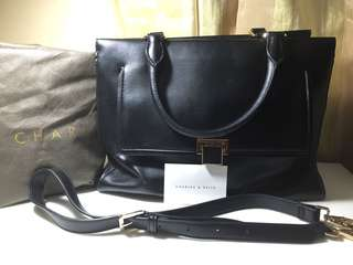 Charles & Keith Multi Pocket Leather Bag with Body Strap