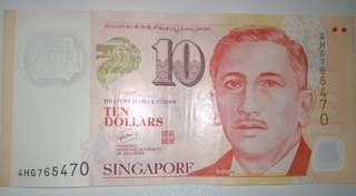 A Ten Singapore Dollars note with nice serial number
