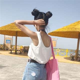 全新 女裝 Q108355 夏裝短款抽繩小背心露臍外穿打底修身吊帶上衣潮