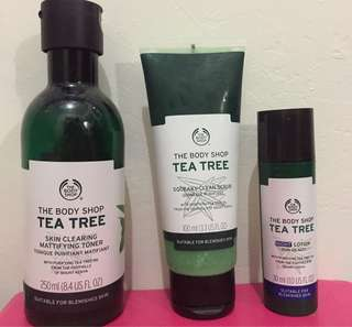 The Body Shop Tea Tree Toner, Scrub, Night Lotion