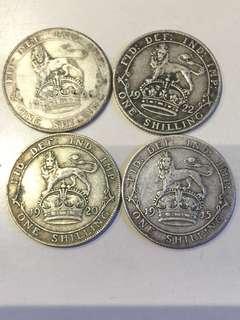 1915 20 22 26年 英國 One Shilling 銀幣(1915年 高銀版)