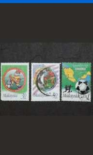 Malaysia 1966 First Malaysia 1997 9th World Football Championship Complete Set - 3v Used Stamps