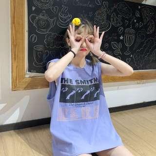 全新 女裝 Q690303 夏裝寬松字母印花圓領無袖背心T恤學生休閑體恤上衣