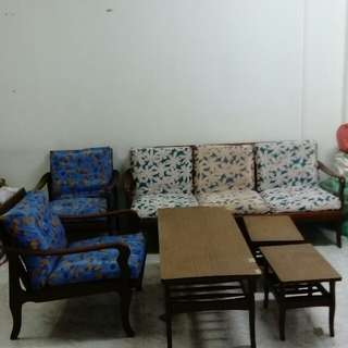 Vintage sofa, coffee table & side table set