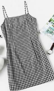 Gingham Spaghetti Strap Dress