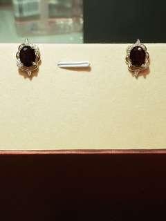 純銀黑石皇后耳環人造鑽石