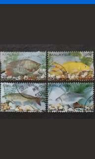 Malaysia 1983 Fresh Water Fish Complete Set - 4v Used Stamps