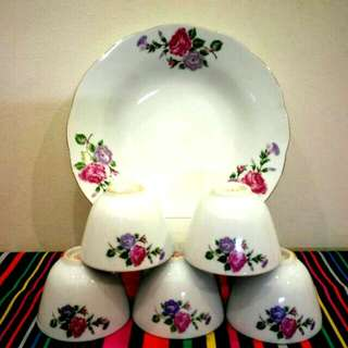 China Purple/ Pink Flower Tea Cups and Plate