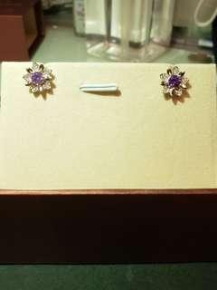 S925紫雪花耳環鋯石