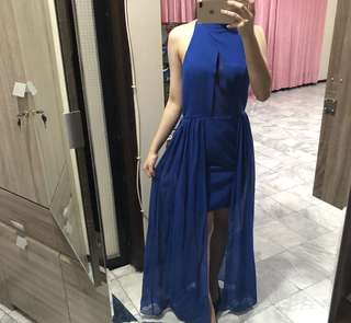 Halter Electric Blue Dress