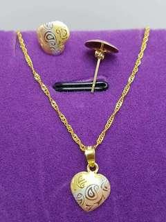 18k GOLD SET LIGHTWEIGHT NECKLACE & EARRINGS