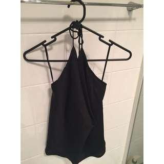 Black Silk Halter Neck Top