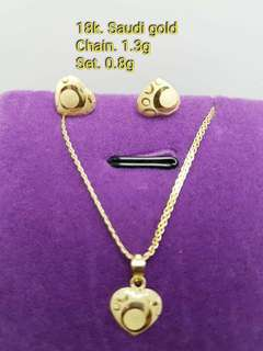 18k GOLD SET LIGHTWEIGHT NECKLACE & EARRINGS