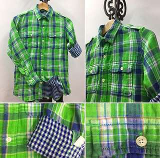 Gap Kids | Green/Blue Plaid Button Down Shirt | 2 Front Pockets | 100% cotton | Size L (10Y)