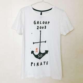 🚚 Galoop夏季短袖T恤船錨海軍風格純棉長版上衣