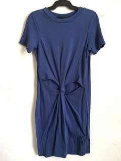 Blue Cutout T-shirt Dress