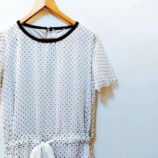 🚚 小圓點雪紡法式袖洋裝 #女裝半價