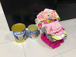 Baby Bundle... Milk Powder and Baby Girl Clothings