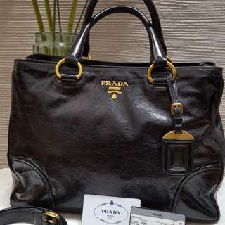 Prada Vitello Shine Double Top Handle Bag