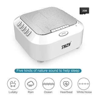 White Noise Machine,THZY Portable Sleep Sound Machine with 5 Noise Options and Nightlight Mode,3 Timers and Rechargeable Playing All Night for Baby,Kids, Adults (Include 2G TF Card)
