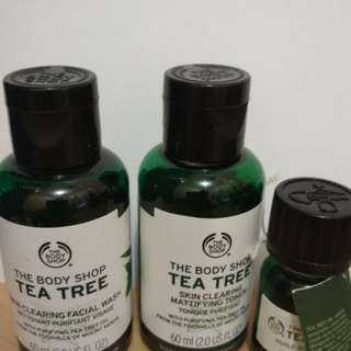 The Body Shop acne series. Kondisi facial wash 80%. Tea tree oil 30%. Toner 30%. HB 200+. exp 2020